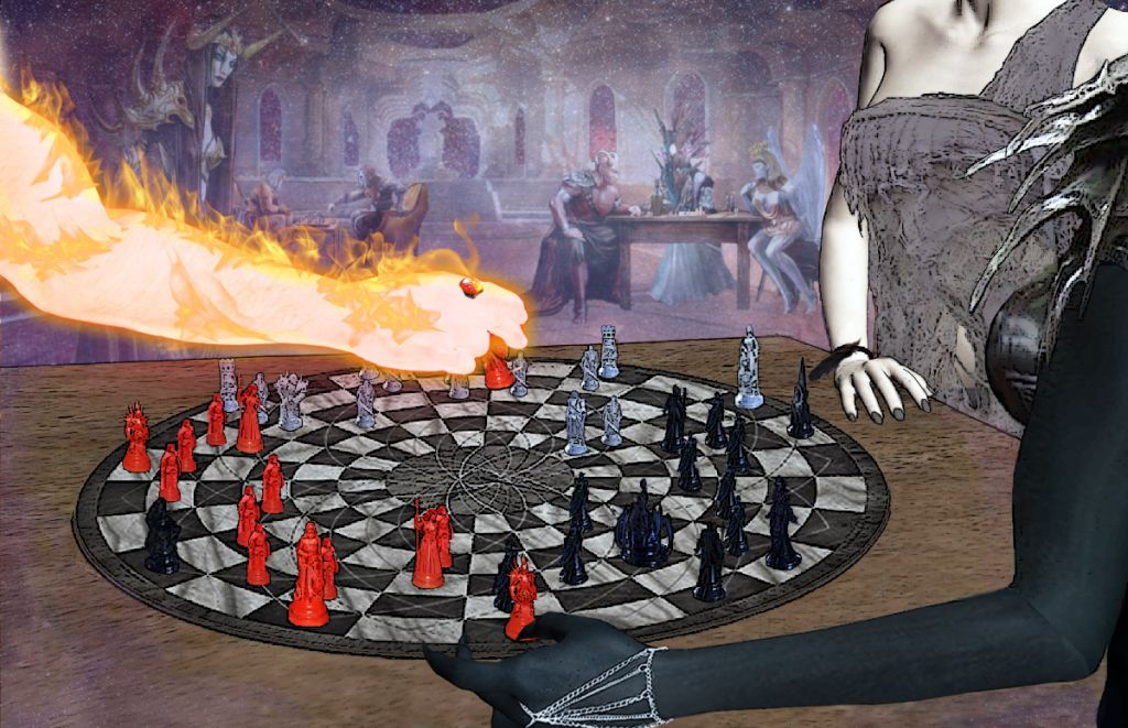 Three gods play chess in a room with other gods, a man made of fire, a grey woman, and a black demoness.