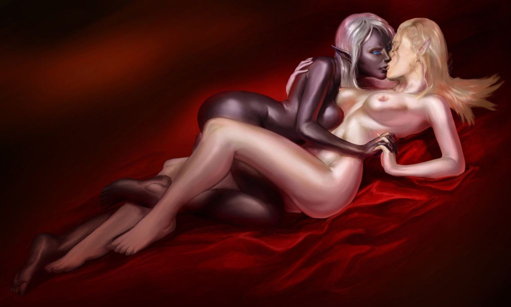 Dark Elf Sirana and Pale Elf Tamuril embrace and kiss on red silk.