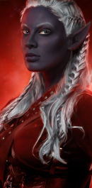 Close up of the face of Sirana, a dark Elf with blue eyes and white hair