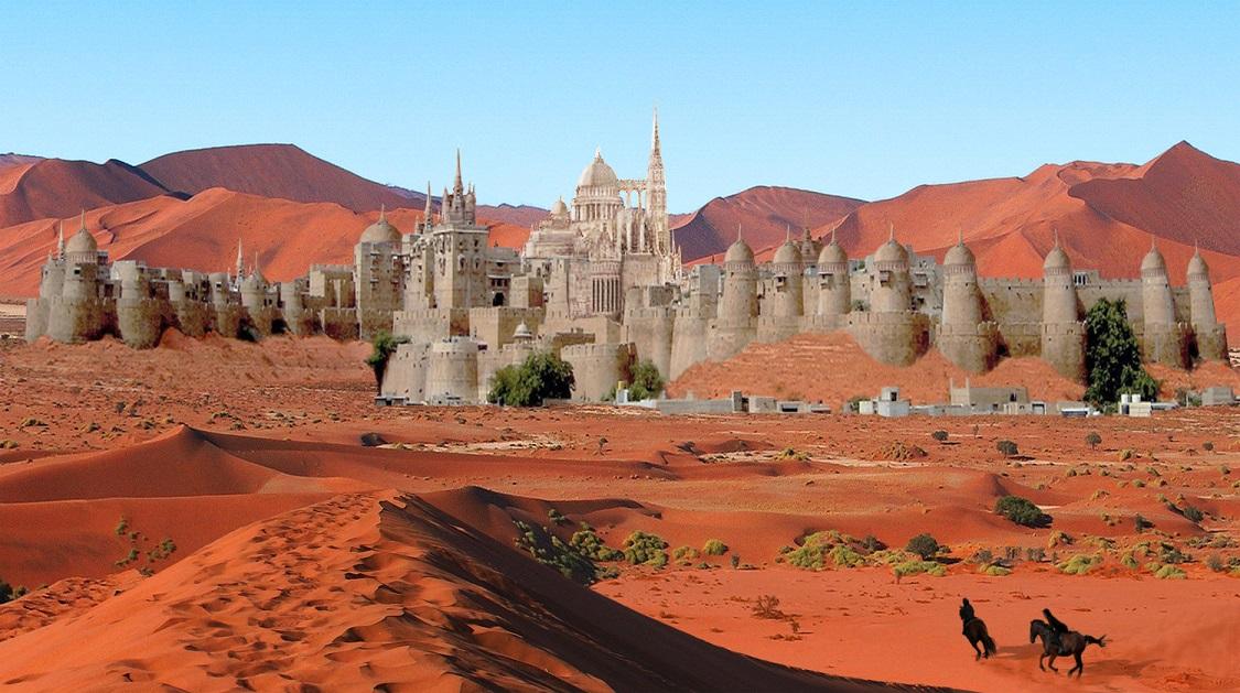 White castle city in red desert sand
